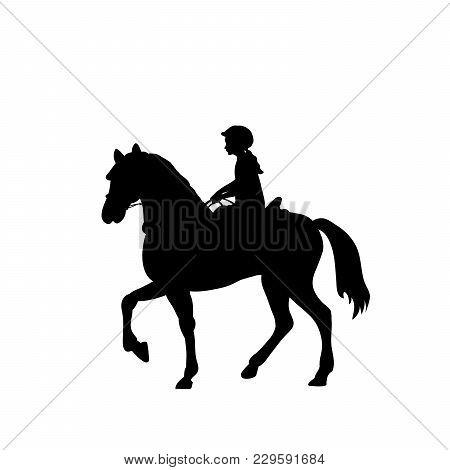 Silhouette Girl Rider Horseback Equitation. Vector Illustration