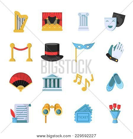 Film, Movie And Theatre Symbols Icon Set. Vector Theater Entertainment, Performance Ballet And Drama