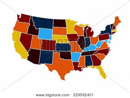 Usa Map Vector Illustration On White Background