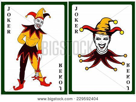 Joker In Colorful Costume Playing Card Illustration