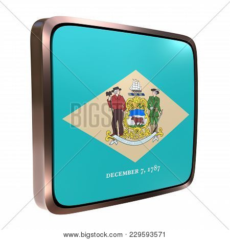 3d Rendering Of A Delaware State Flag Icon With A Bright Frame. Isolated On White Background.