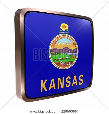 3d Rendering Of A Kansas State Flag Icon With A Bright Frame. Isolated On White Background.