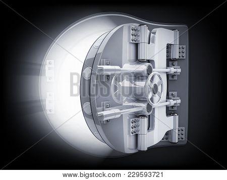 Bank Open Door And Black Backgroud. 3d Illustration