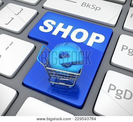 Button Blue E-shop And Cart. 3d Illustration