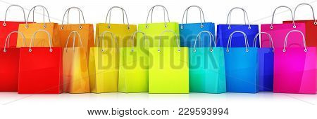 Many Shopping Bag Multicolored On White Background. 3d Illustration