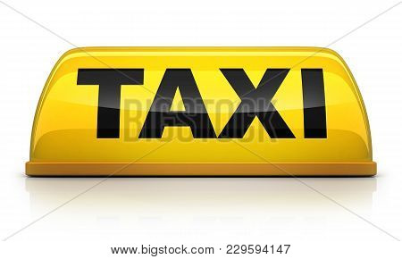 Yellow Taxi Sign On White Background. 3d Illustration