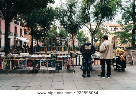 Madrid, Spain - November 3, 2017: Flea Market In Dos De Mayo Square In Madrid, In Malasana District.