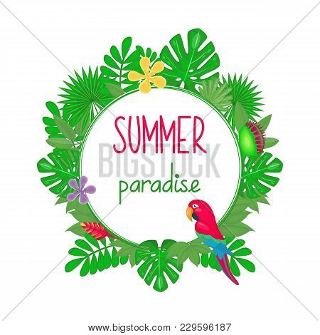 Tropical Frame With Rainforest Plants, Leaves And Macaw Parrot. Vector Illustration. Cartoon Style.