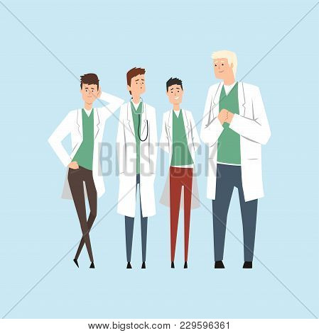 Smiling Doctors Team, Hospital Workers Standing Together Vector Illustration Isolated On A Light Blu