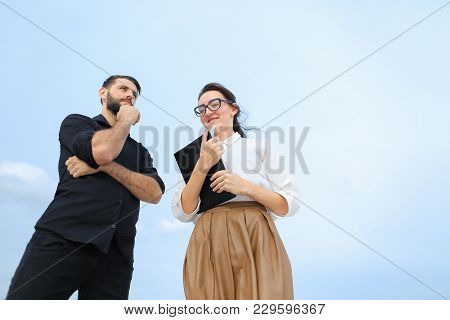 Realtor Female And Business Man Negotiate Deal About Buying House At Shore, Smiling Girl And Concent