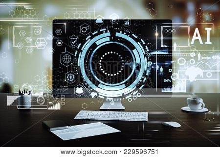 Close Up Of Creative Designer Workplace With Creative Digital Business Hologram. Finance And Innovat