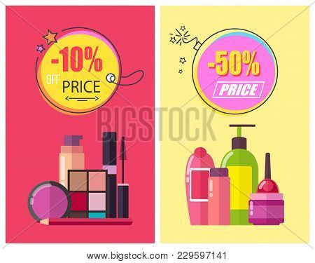 -50 Off Price, Poster Set With Circles And Headlines, Shampoo And Eyeshadows, Pencil And Mascara, Sh
