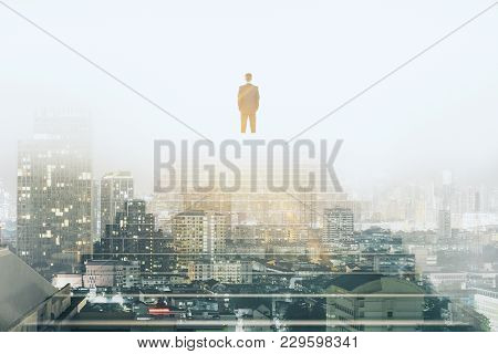 Businessman Climbing Stairs On Abstract City Background With Sunlight. Success And Development Conce