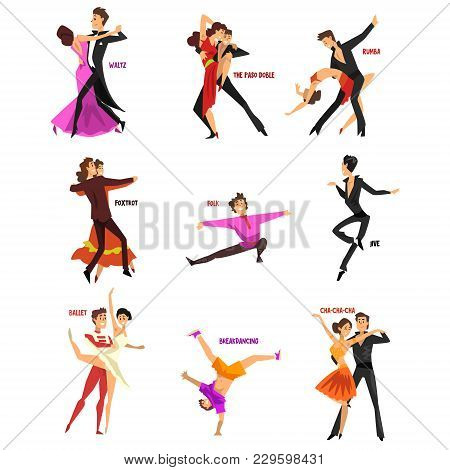 Professional Dancer People Dancing, Young Man And Woman Dressed In Elegant Clothing Performing Dance