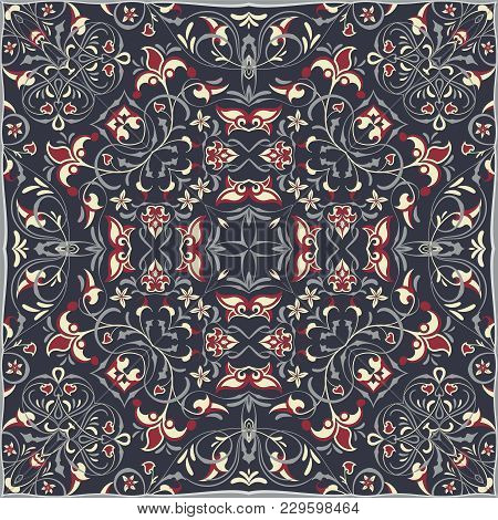 Square Arabic Pattern For The Silk Scarf, Scarf, Printing Factory, Carpet. Abstract Pattern Red And