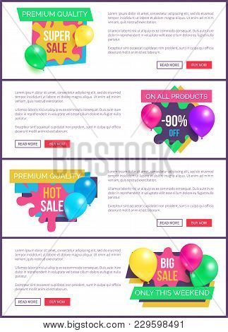Collection Of Landing Pages Sale Prices Promo Sticker Balloons And Brush Splashes Web Online Posters