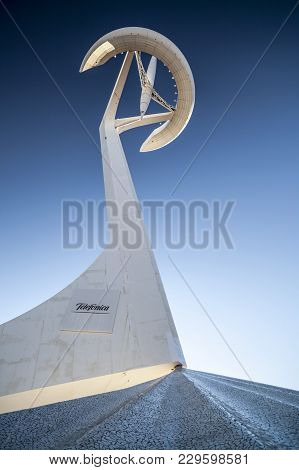 Barcelona,spain-february 6,2013: Communications Tower Or Tower Telefonica, Designed By Santiago Cala