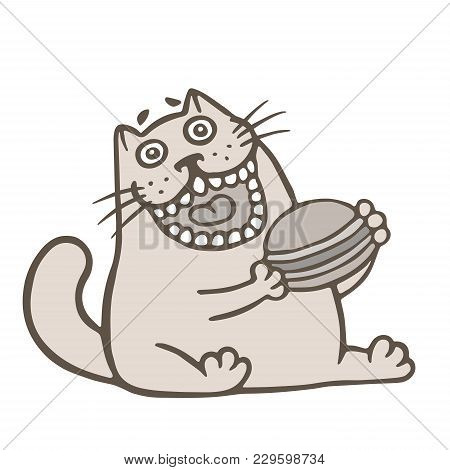 Cute Cat Holds A Large Cheeseburger. Vector Illustration. Funny Cartoon Cool Character. Eating Fast