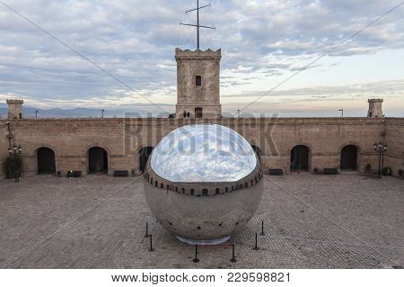 Barcelona,spain-december 18,2014: Castle Of Montjuic, On Top Of Park Montjuic, Barcelona.