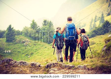 Active Seniors On Trip In Mountains, Group Of Tourists Living Healthy Active Lifestyle Enjoying Natu