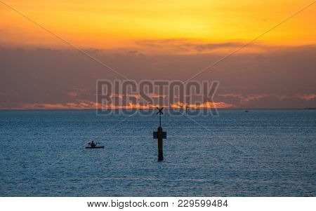 Kayaking On Port Phillip Bay At Sunset.
