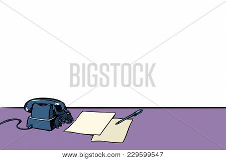 Office Desk With Phone Isolated On White Background. Pop Art Retro Vector Illustration Comic Cartoon