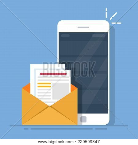 Mail Client On The Mobile Phone. The Concept Of Sending Letters From A Smartphone. Flat Vector Illus