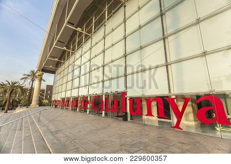 Barcelona,spain-october 7,2014: Architecture, Building Theater, Tnt-teatre Nacional De Catalunya, By