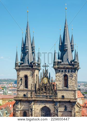 Top Part Of West Facade Of The Church Of Our Lady Before Tyn With Gothic Towers And Spires Closeup I