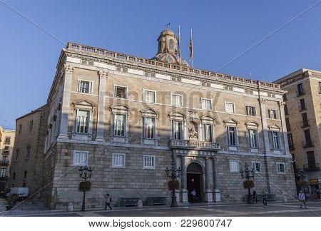 Barcelona,spain-september 29,2014: Palace,palau De La Generalitat,historic Building Houses Offices P