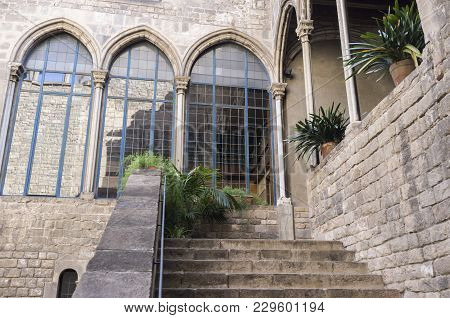 Barcelona,spain-may 20,2014: Palace, Palau Requesens, Gothic Style, Gothic Quarter, Barcelona.