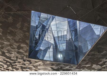 Barcelona,spain-may 19,2015: Original Ceiling Of Building Edificio Forum- Museum Blau, By Jacques He