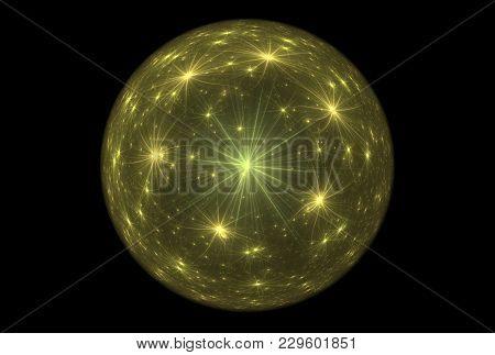 Bright Abstract Fractal Yellow Magic Ball Of Fantasy, Fractal Magic Ball Fantasy