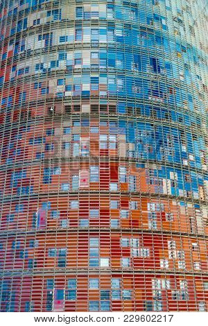 Barcelona,spain-november 21,2013: Detail Colored Facade Tower, Torre Agbar, By Jean Nouvel, Iconic M