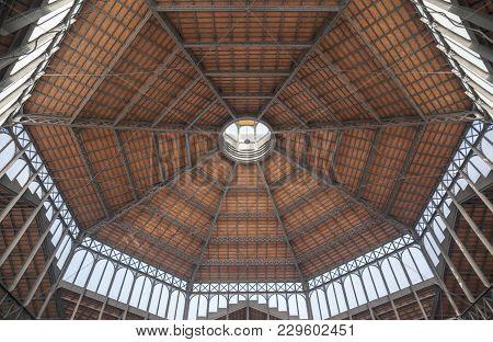Barcelona,spain-november 5,2013: Interior Iron Ceiling View Of El Born Cultural Center, Ancient Mark