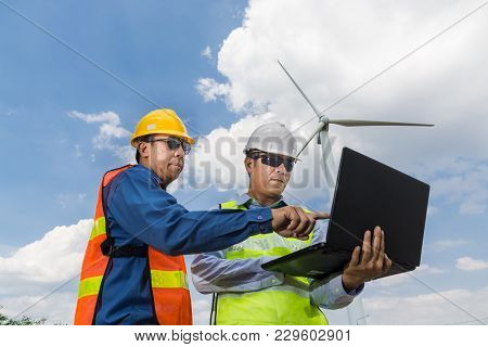, Male Architect And Engineer Use Laptop Computer