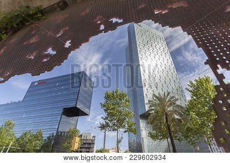 Barcelona,spain-april 30,2013: Contemporary Architecture In Barcelona, Office Building D123 De Hines