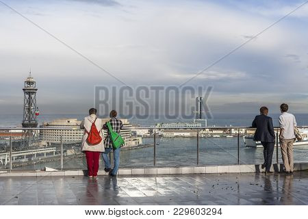 Barcelona,spain-march 6,2013: People In Balcony Lookout, City View,miramar Gardens,park,parc De Mont