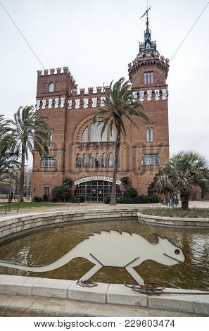 Barcelona,spain-february 22,2013: Architecture, Building, Modernist Style, Castle, Castell Dels Tres