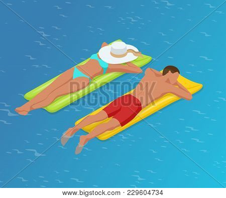 Isometric Woman And The Man Floating On A Mattress In Water Pool. Enjoying Suntan. Summer Vacation C