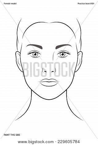 Practice Board For Face Painting. Female Face. Size A4. Vector Template Eps10.