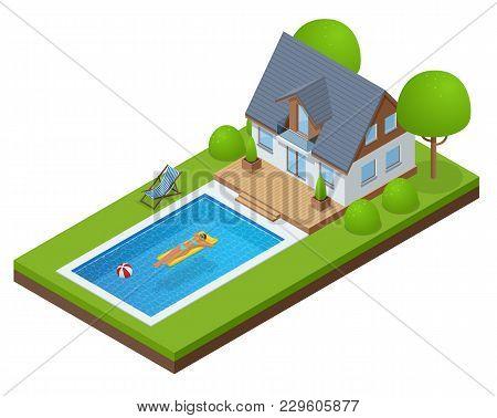 Isometric Modern Villa Outdoor With Swimming Pool. Enjoying Suntan Woman In Bikini And Man On The In