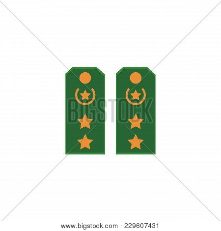 Flat style cartoon pair of military shoulder straps, regimental insignia, vector illustration isolated on white background. Flat vector icon of green military shoulder straps, marks, stars poster