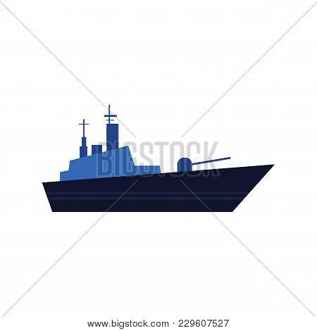 Flat style warship, battleship, armoured naval vehicle icon, vector illustration isolated on white background. Flat style vector icon of blue toy warship, battleship poster