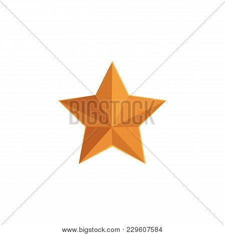 Flat Style Five-pointed Golden Military Star, Vector Illustration Isolated On White Background. Flat