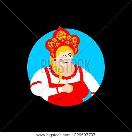 Russia Thumbs Up And Winks Girl. Russian Woman Happy. Female Joyful In National Costume. Ethnic Hist