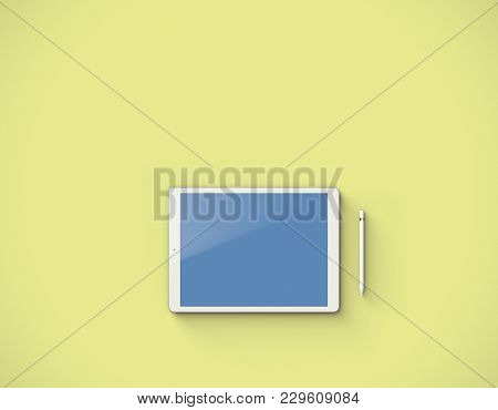 Mockup of white digital tablet with pencil over yellow background. Top view. Clipping path included. 3D render