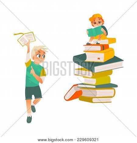 Vector Cartoon Small Boy, School Or Kindergarten Sitting At Big Book Column, Stack, Reading Textbook