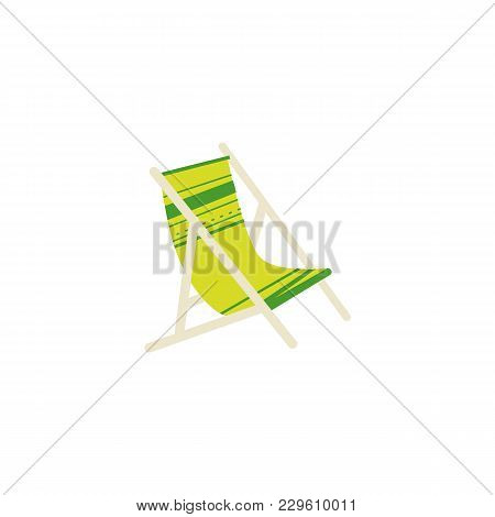 Stylized Flat Cartoon Vector Illustration Of Striped Lounge Chair, Tanning Bed - Summer Beach Vacati