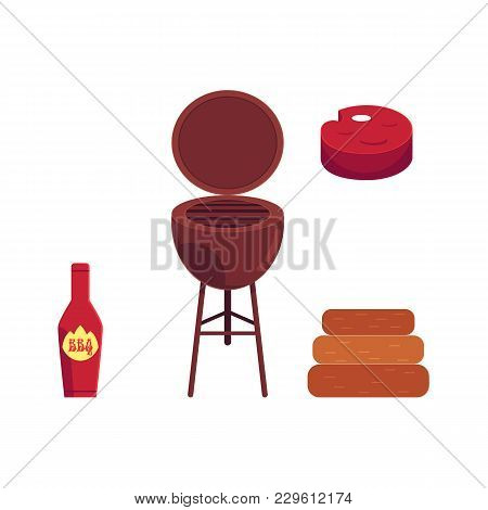 Vector Flat Barbecue, Bbq Symbols Set. Meat Steak, Ketchup In Red Bottle, Coal Grill, Charcoal Icon.